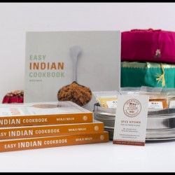 Signed Cookbook 'Easy Indian Cooking' Manju Malhi & Spice Tin, 9 Spices & Handmade Silk Sari Wrap
